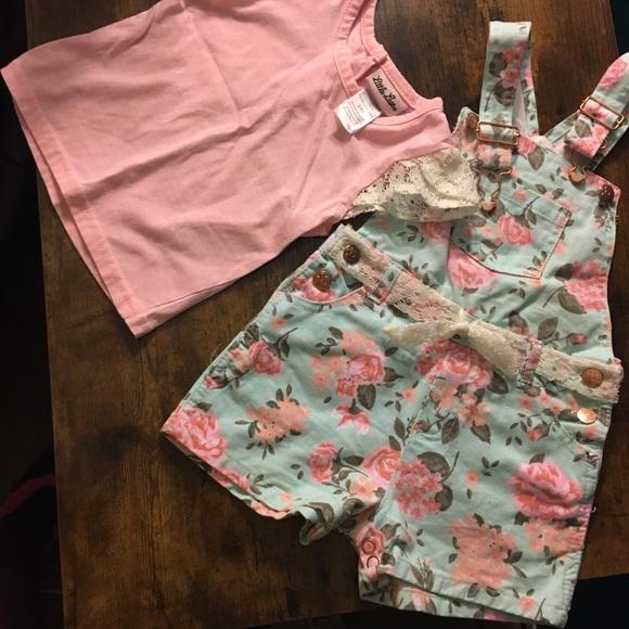 24M Floral overalls laced flutter sleeve top/belt